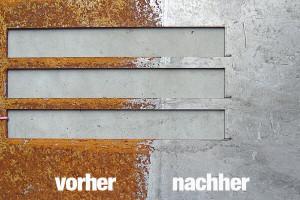 Vorher und nachher Fotos von verrosteten Bauteil