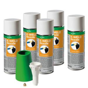 Fünf Aerosoldosen E-WELD Nozzle mit TASK Pro